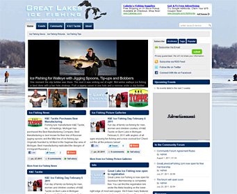 Thumbnail image of GreatLakesIceFishing.com website sample
