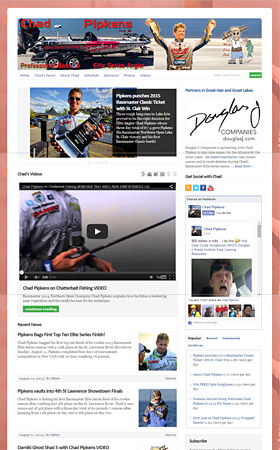 Screen shot of ChadPipkens.com tournament angler website designed and managed by AnglerHosting.com