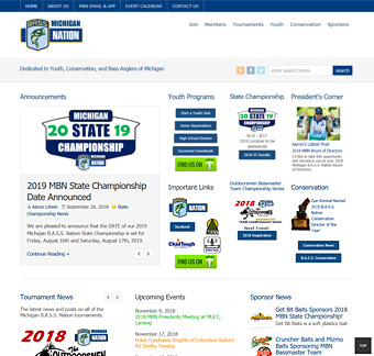 Thumbnail screenshot of the Michigan B.A.S.S. Nation website