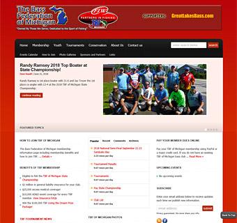 Thumbnail screenshot of The Bass Federation of Michigan MichiganTBF.com website